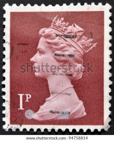 UNITED KINGDOM - CIRCA 1980: An English stamp printed in Great Britain shows Portrait of Queen Elizabeth, circa 1980. - stock photo