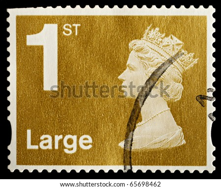 UNITED KINGDOM - CIRCA 2006: An English Used First Class Large Letter Postage Stamp showing Portrait of Queen Elizabeth 2nd, circa 2006 - stock photo