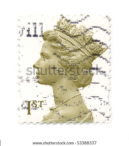 UNITED KINGDOM - CIRCA 2000: An English Used First Class Postage Stamp showing Portrait of Queen Elizabeth, circa 2000. - stock photo