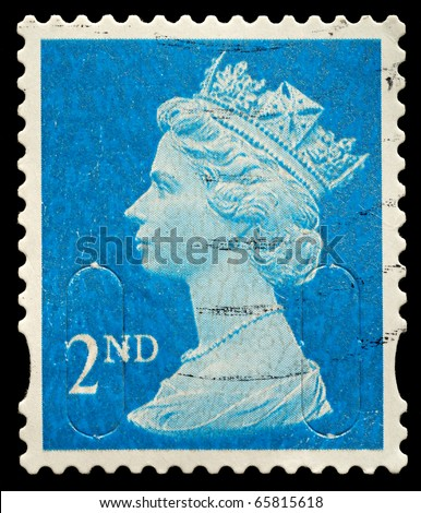 UNITED KINGDOM - CIRCA 2010: An English Used Second Class Postage Stamp showing Portrait of Queen Elizabeth 2nd, circa 2010 - stock photo
