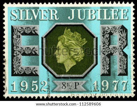 UNITED KINGDOM - CIRCA 1977: British Used Postage Stamp celebrating the Silver Jubilee of the Crowning of Queen Elizabeth 2nd, circa 1977 - stock photo