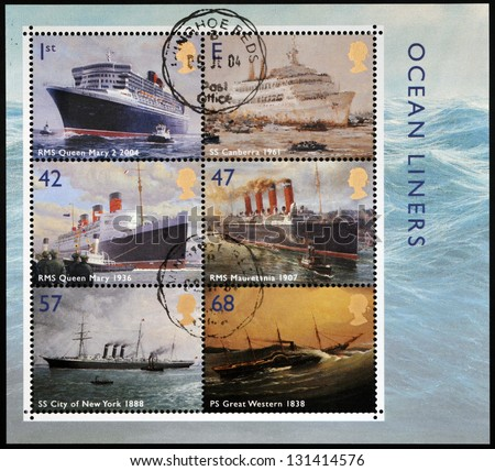 UNITED KINGDOM - CIRCA 2004: Collection stamps printed in Great Britain dedicated to ocean liners, circa 2004