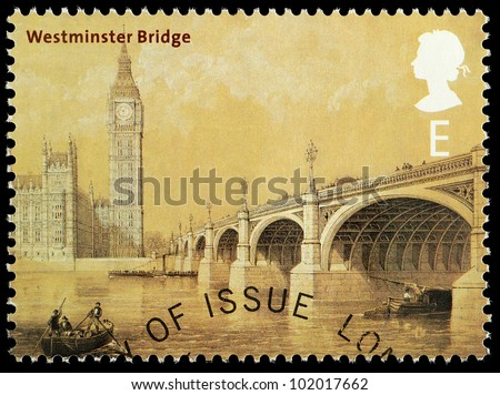 UNITED KINGDOM - CIRCA 2002 : English Used Postage Stamp showing Westminster Bridge as it looked in 1864 London with Big Ben and the Houses of Parliament, printed in England, Great Britain, circa 2002 - stock photo