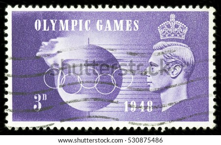 UNITED KINGDOM - CIRCA 1948: King George VI commemorative mail stamp printed in the UK on the occasion of the London Olympic Games, circa 1948