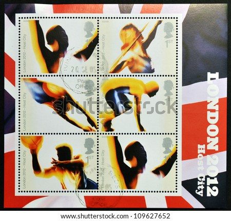 UNITED KINGDOM - CIRCA 2006: Stamps dedicated to London's Successful Bid for Olympic Games, 2012, circa 2012 - stock photo