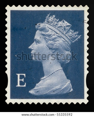 UNITED KINGDOM - CIRCA 2000 to 2003: An English Used First Class Postage Stamp showing Portrait of Queen Elizabeth 2nd, circa 2000 to 2003 - stock photo