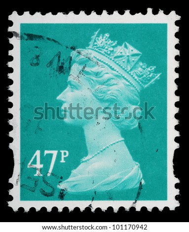 UNITED KINGDOM - CIRCA 1993 to 2007: An English Used Postage Stamp showing Portrait of Queen Elizabeth 2nd, circa 1993 to 2007