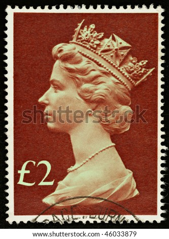 UNITED KINGDOM - CIRCA 1977 to 1984: An English £2 Used Postage Stamp showing Portrait of Queen Elizabeth 2nd, circa 1977 to 1984 - stock photo