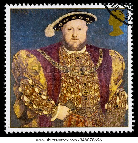 UNITED KINGDOM - CIRCA 1997: used postage stamp printed in Britain commemorating King Henry 8th - stock photo