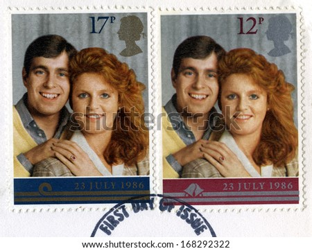 UNITED KINGDOM - CIRCA 1986: Vintage post-marked British stamps featuring the image of Prince Charles and Lady Diana Spencer to commemorate their Royal Wedding, circa 1986. - stock photo