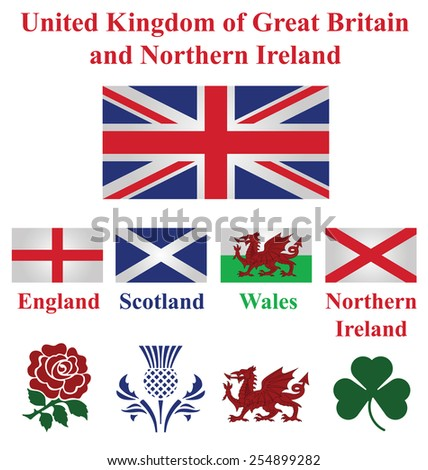 United Kingdom collection of flags and national emblems of England Scotland Wales Northern Ireland isolated on white background - stock photo