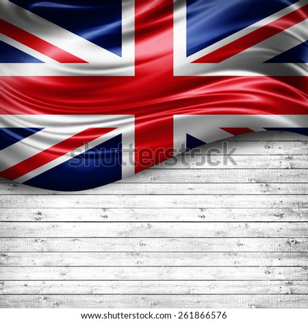 United Kingdom flag and wood background  - stock photo