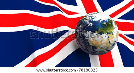 United Kingdom flag background, Earth in foreground showing country of England through cloud cover