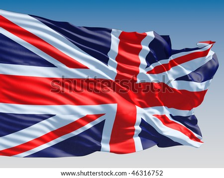United Kingdom flag flying on clear sky background. - stock photo