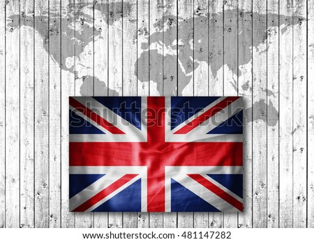 United Kingdom   flag of grunge fabric,world map and wood background-3D illustration