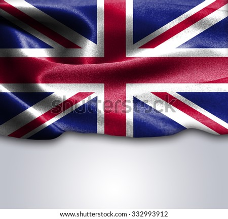 United Kingdom flag on smooth silk texture Space for Text - stock photo