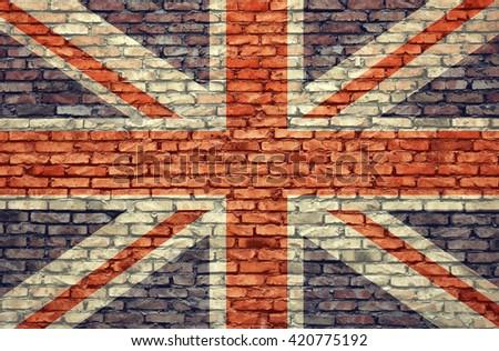 United Kingdom flag on wall brick background - stock photo