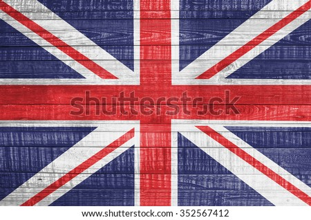United Kingdom flag on wooden background