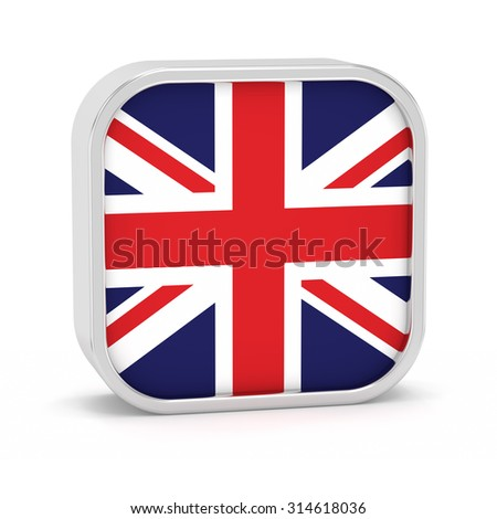 United Kingdom flag sign on a white background. Part of a series.