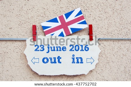 United Kingdom flag  with copyspace for your text. Brexit UK EU referendum 23 June concept with flags and topical message - stock photo