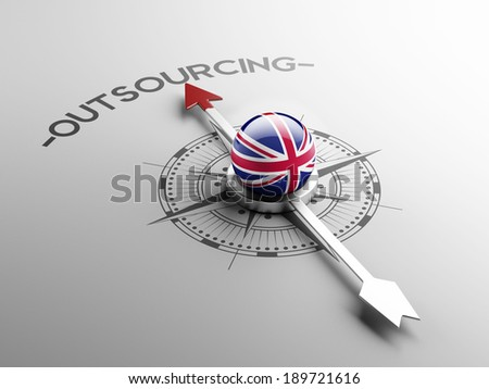 United Kingdom High Resolution Outsourcing Concept - stock photo