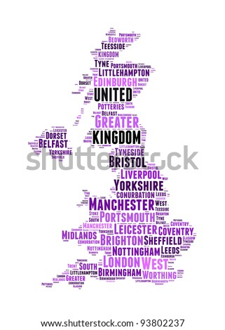 United Kingdom map and words cloud with larger cities - stock photo