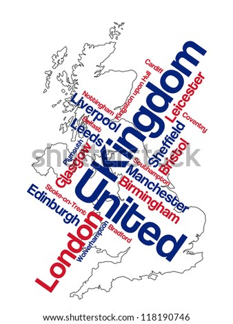 United Kingdom map and words cloud with larger cities; eps vector version also available - stock photo