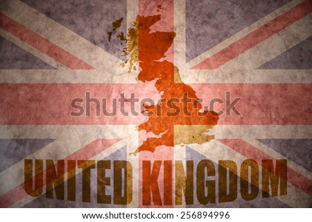 united kingdom map on a vintage british flag background - stock photo