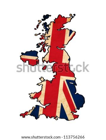 United Kingdom map on United Kingdom flag drawing ,grunge and retro flag series - stock photo