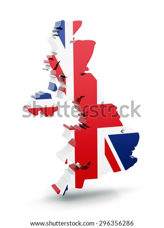 United Kingdom map with flag texture isolated on white background. 3D illustration.