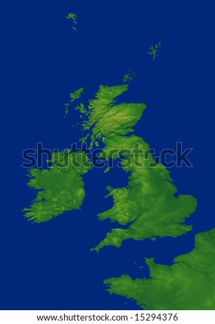United Kingdom map with terrain