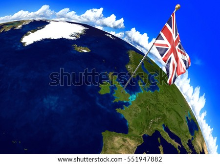 United Kingdom national flag marking the country location on world map. 3D rendering, parts of this image furnished by NASA