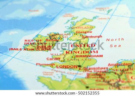 United Kingdom Britain Ireland On Map Stock Photo - Ireland on map