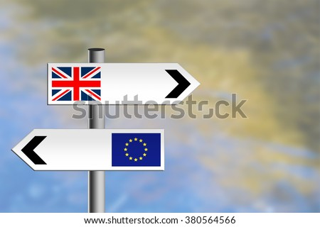 United Kingdom referendum, EU, Europe vote. Or immigration. Sign posts, different directions. - stock photo