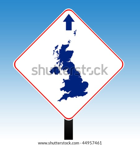 United Kingdom road sign with directional arrow, blue sky background. - stock photo