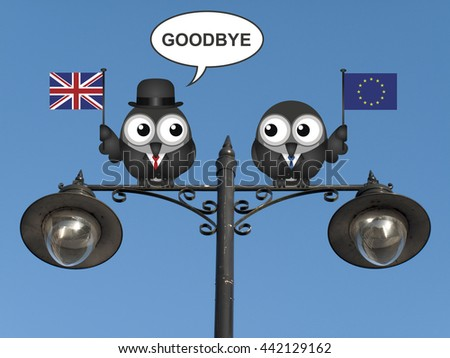 United Kingdom saying goodbye to European Union membership resulting from the June 2016 referendum - stock photo