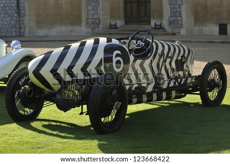 UNITED KINGDOM - SEPTEMBER 13: A classic car on display at the United Kingdom Concours d'elegance Classic Car Expo at Windsor Castle on September 13, 2012 in Windsor, United Kingdom. - stock photo