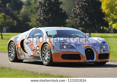 UNITED KINGDOM - SEPTEMBER 13: Bugatti  Veyron on display at the United Kingdom Concours d'elegance Classic Car Expo at Windsor Castle on September 13, 2012 in Windsor, United Kingdom. - stock photo