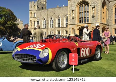 UNITED KINGDOM - SEPTEMBER 13: Ferrari on display at the United Kingdom Concours d'elegance Classic Car Expo at Windsor Castle on September 13, 2012 in Windsor, United Kingdom. - stock photo