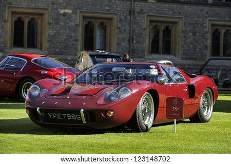 UNITED KINGDOM - SEPTEMBER 13: Ford GT40 on display at the United Kingdom Concours d'elegance Classic Car Expo at Windsor Castle on September 13, 2012 in Windsor, United Kingdom. - stock photo