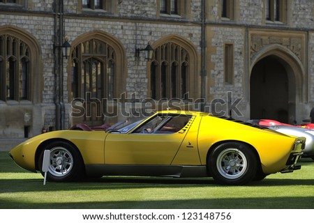 UNITED KINGDOM - SEPTEMBER 13: Lamborghini on display at the United Kingdom Concours d'elegance Classic Car Expo at Windsor Castle on September 13, 2012 in Windsor, United Kingdom. - stock photo