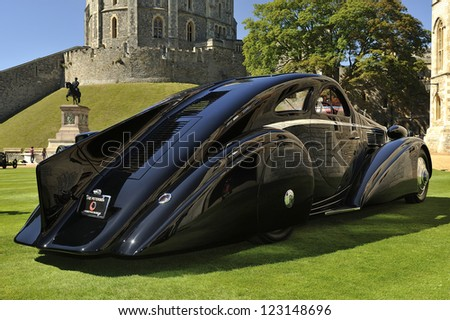 UNITED KINGDOM - SEPTEMBER 13: Unique Rolls Royce on display at the United Kingdom Concours d'elegance Classic Car Expo at Windsor Castle on September 13, 2012 in Windsor, United Kingdom. - stock photo