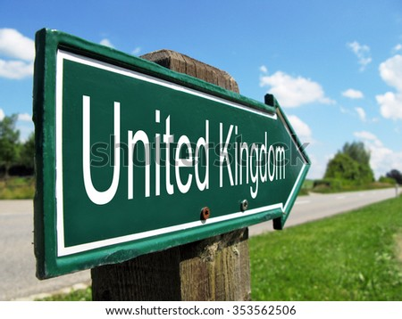 United Kingdom signpost along a rural road - stock photo