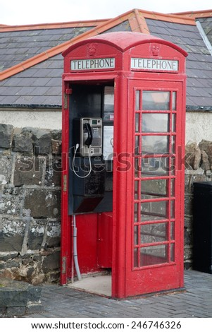 Poster Phone Booth Red Color Inscription Stock Vector 348833669 ...