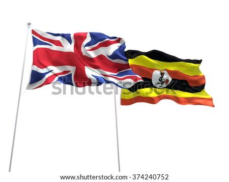 United Kingdom & Uganda Flags are waving on the isolated white background - stock photo