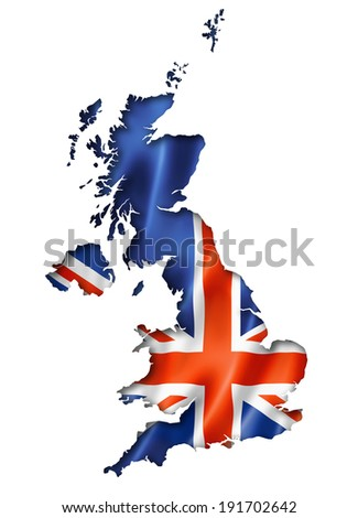 United Kingdom, UK flag map, three dimensional render, isolated on white - stock photo