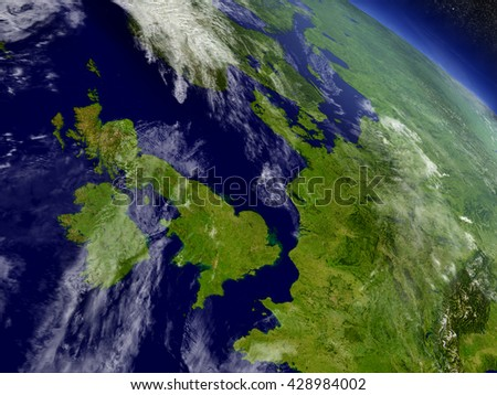 United Kingdom with surrounding region as seen from Earth's orbit in space. 3D illustration with highly detailed planet surface and clouds in the atmosphere. Elements of this image furnished by NASA. - stock photo