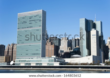 United Nations Building seen from Roosevelt Four Freedom park on Roosevelt Island, New York City - stock photo
