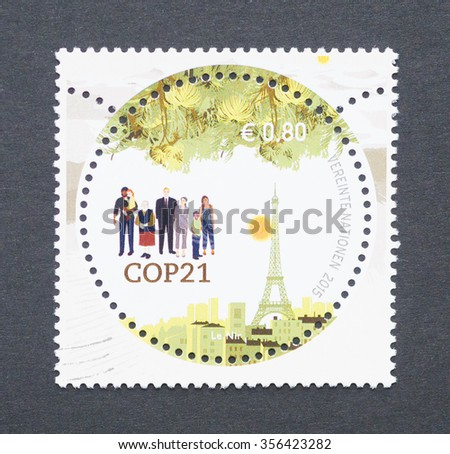 UNITED NATIONS - CIRCA 2015: a postage stamp printed in United Nations commemorative of the 2015 United Nations Climate Change Conference, circa 2015.  - stock photo