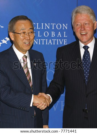 United Nations Secretary General Ban Ki-moon (L) and former president Bill Clinton - stock photo